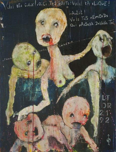 Voici tes gueux, Acrylic on canvas, Jenola, Expressionism, Outsider Art, Artcompulsion