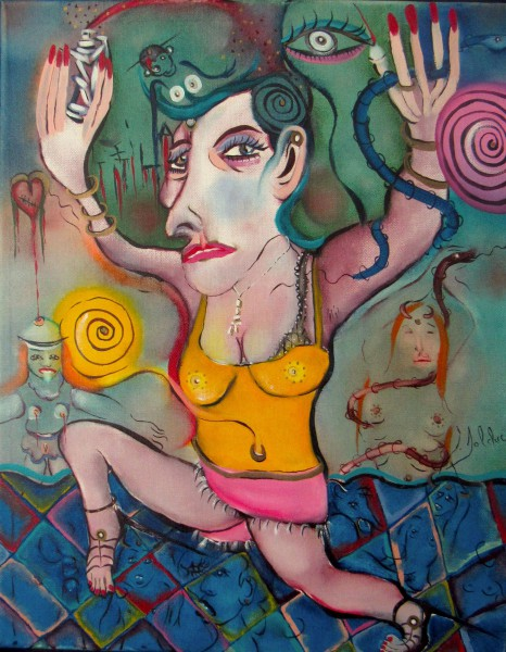 La danseuse, oil on canvas, Claude Bolduc, Outsider Art, Raw Art, Artcompulsion