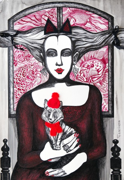 Chaperon rouge I, chinese ink and mixed media on paper, Tatiana Samoïlova, Contemporary Art, Artcompulsion