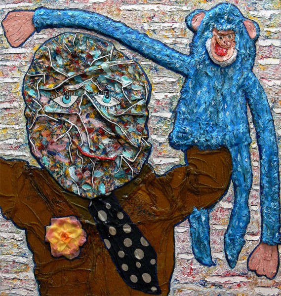 Montreur de Marionettes, mixed media on canvas, Philippe Tykoczinski, Outsider Art, Artcompulsion