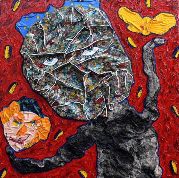 L'un ou l'autre, l'un et l'autre, Mixed media on canvas, Philippe Tykoczinski, Outsider Art, Artcompulsion