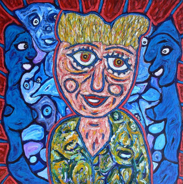 Entre ciel et terre, oil on canvas, Philippe Tykoczinski, Outsider Art, Artcompulsion