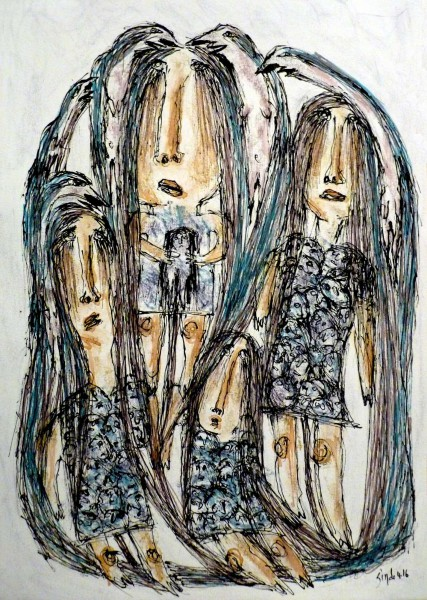 Sans titre 2, inks on paper, Simdo, Outsider Art, Artcompulsion