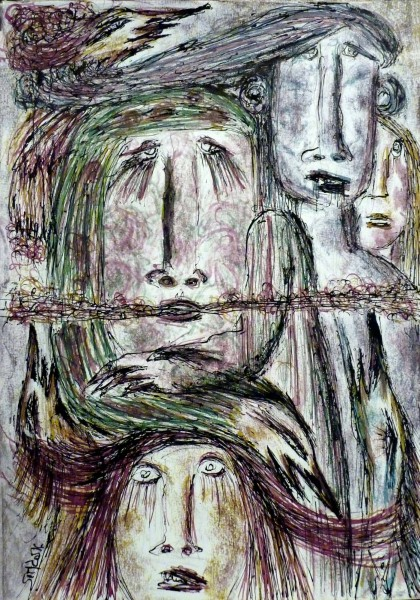 Sans titre 8, inks on paper, Simdo, Outsider Art, Artcompulsion