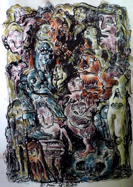 Les peines de l'homme, inks on paper, Simdo, Outsider Art, Artcompulsion