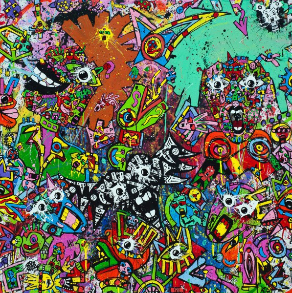 Beyond The Impasse, acrylique sur toile, Jean-Marc Calvet, Art Singulier, Outsider Art, Art contemporain, Artcompulsion
