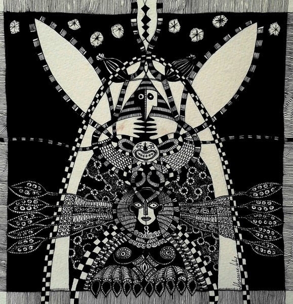 Dôme lagomorphe, ink on paper, Florence Joly, Outsider Art, Artcompulsion