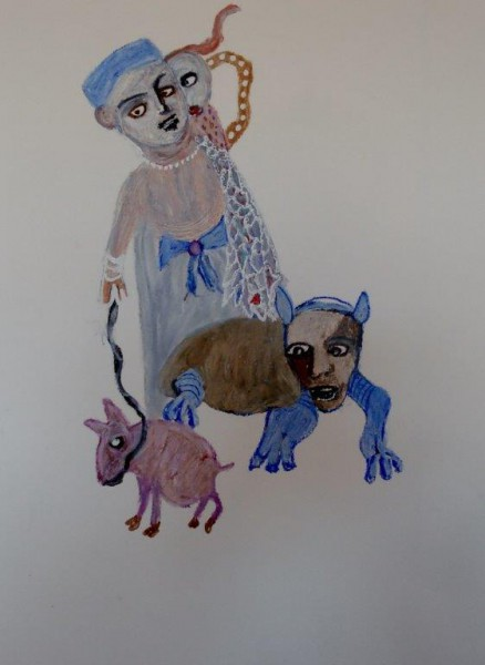 Sans titre 4, mixed media on paper, Hélène Blondin, Outsider Art, Artcompulsion