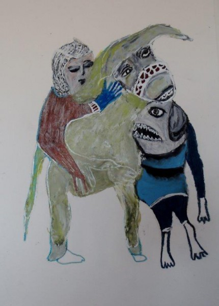 Sans titre 6, technique mixte sur papier, Hélène Blondin, rt Singulier, Outsider Art, Artcompulsion
