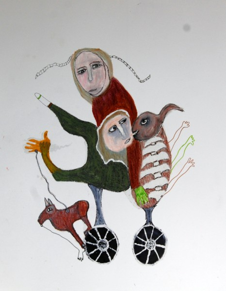 Sans titre 7, mixed media on paper, Hélène Blondin, Outsider Art, Artcompulsion