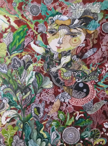 Le jardin d'Amour, inks on cardboard, Pascale Roux, OutsiderArt, Artcompulsion