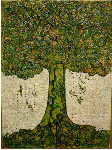 Le Grand Arbre Vert, technique mixte sur toile, Rodia Bayginot, Art singulier, Outsider Art, Artcompulsion