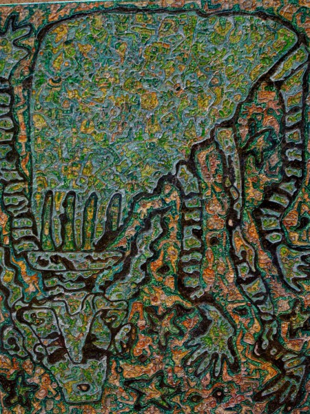 L'Homme Vert, mixed media on canvas, Rodia Bayginot, Outsider Art, Artcompulsion