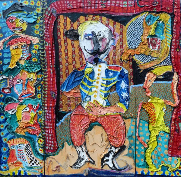 Dompteur de petit peuple, acrylic on fabrics glued on canvas, Joël Crespin