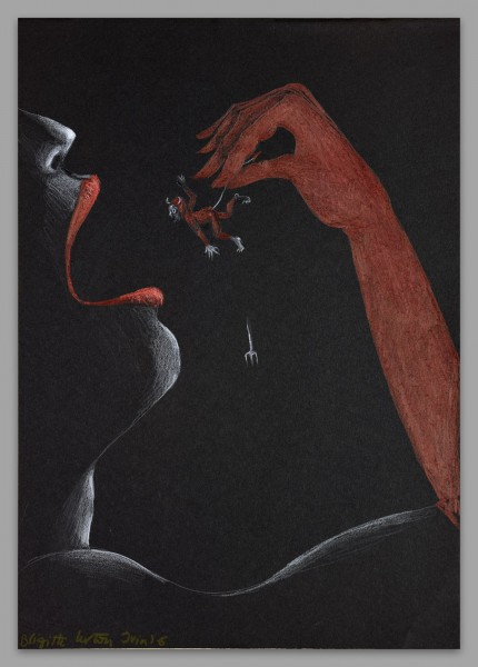 Bouffeurs de rêves, le diable, pencil on paper, Brigitte Lurton, Contemporry Art, Artcompulsion