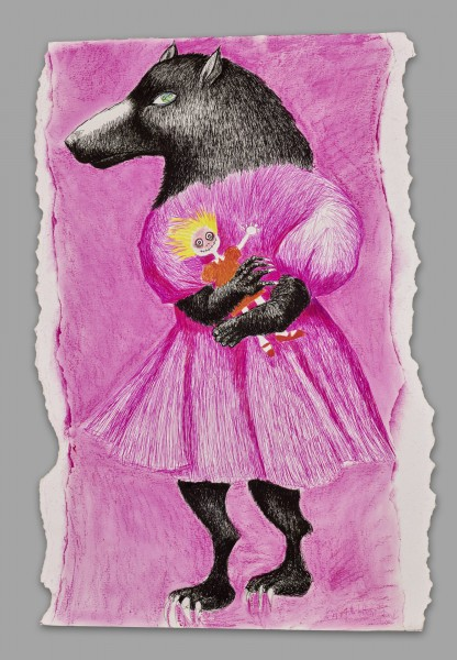Grand Loup rose, mixed media on cardboard, Brigitte Lurton, Contemporary Art, Artcompulsion