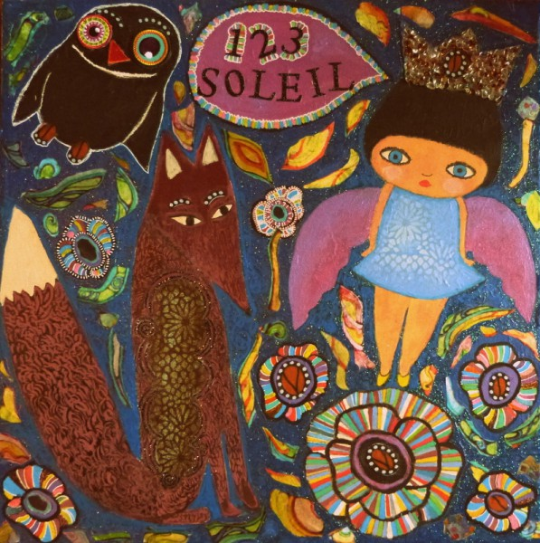 1,2,3, Soleil, mixed media on canvas, Christelle Pasquet, Outsider Art, Artcompulsion