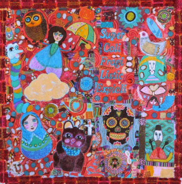 Califragiliexpiali, mixed media on canvas, Christelle Pasquet, Outsider Art, Artcompulsion