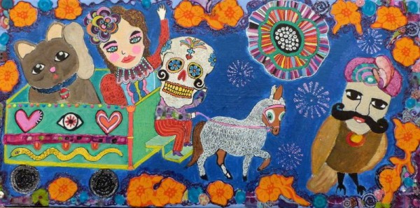 Le grand voyage, mixed media on canvas, Christelle Pasquet, Outsider Art, Artcompulsion