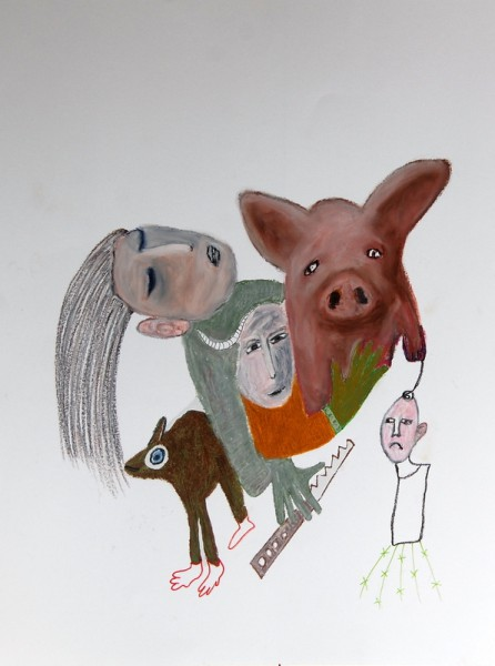 Sans titre 9, mixed media on paper, Hélène Blondin, Outsider Art, Artcompulsion