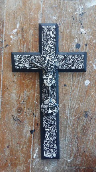 Crucifix 1, ink on wood, Eric Demelis, Outsider Art, Artcompulsion