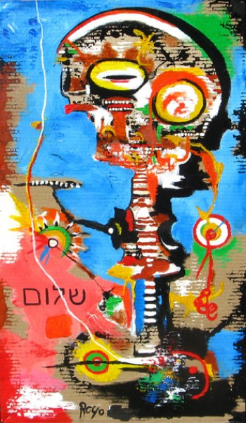Shalom, acrylic on cardboard mounted on wood, Jean Jacques Royo, Outsider Art, Artcompulsion