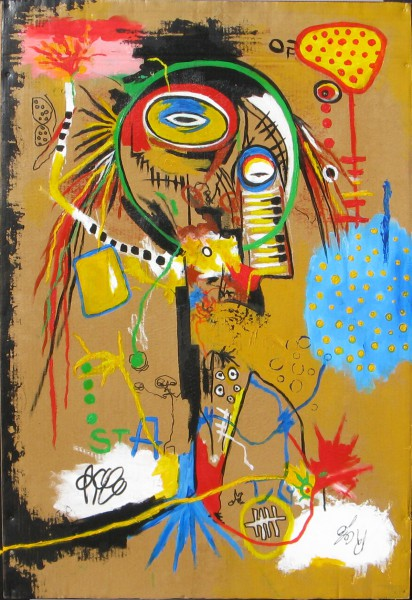Sans titre 5, Mixed media on cardboard mounted on wood, Jean Jacques Royo, Outsider Art, Artcompulsion