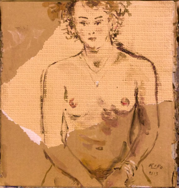 Nu au collier de diamant, drawing on cardboard, Emmanuel Flipo, Artcompulsion, contemporary art