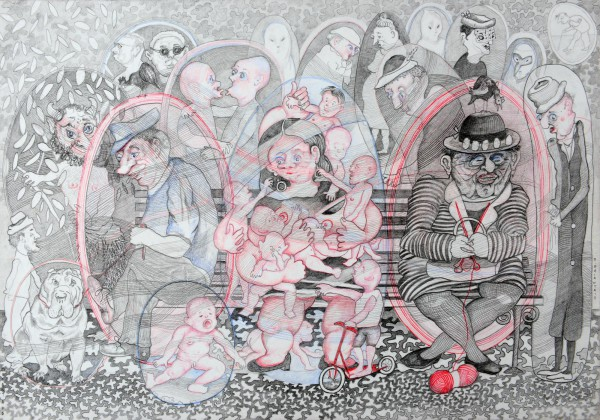 Banc Public 8, pencils on paper, Bernard Briantais, Outsider Art, Artcompulsion