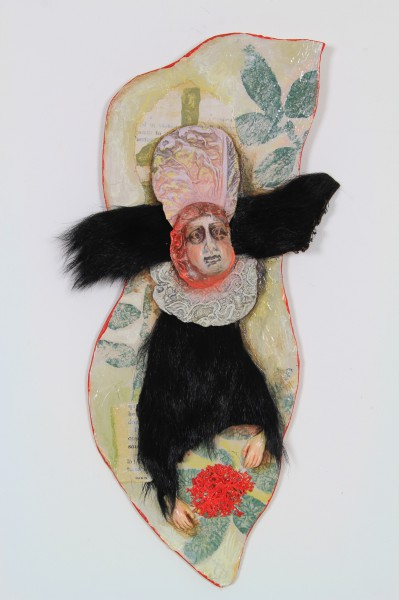 Le bal des coutisans 2, Ceramic and textile on cardboard, Odile Mandrette, Outsider Art, Artcompulsion