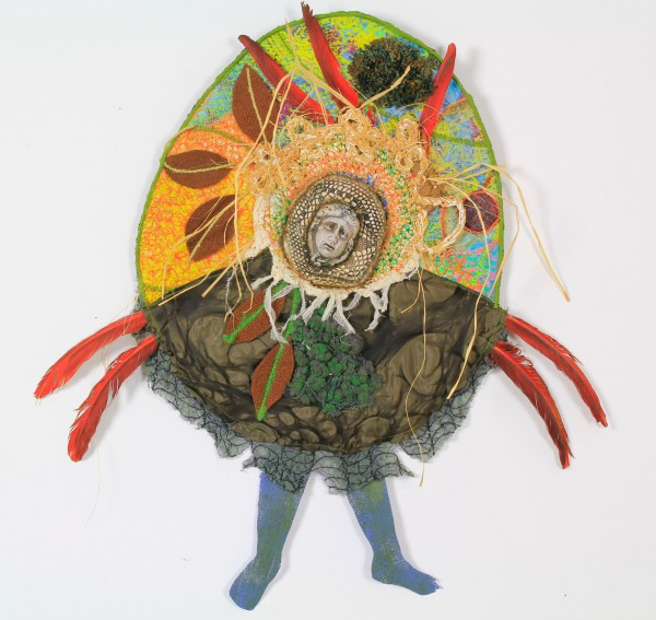Chaman, Ceramic and textile on cardboard, Odile Mandrette, Outsider Art, Artcompulsion