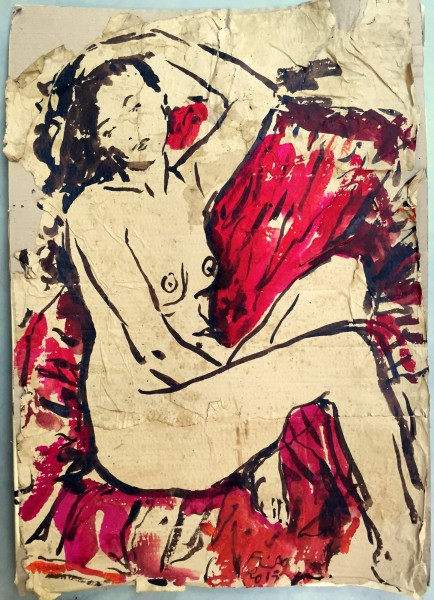 Eva, canapé rouge, dessin, technique mixte sur carton, Emmanuel Flipo, Artcompulsion, art contemporain