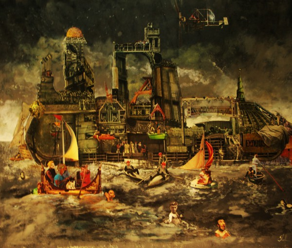 Tempétueux, collage on canvas, Jacques Deal, Artcompulsion