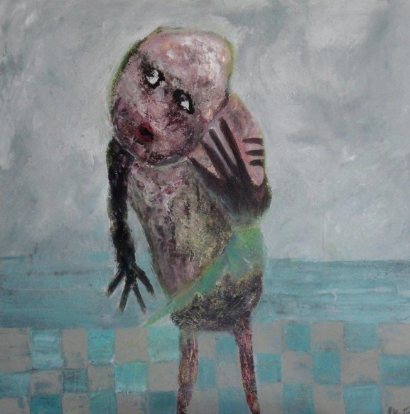 Au bout de la mer, oil on canvas, Hélène Blondin, Outsider Art, Artcompulsion