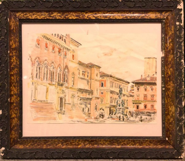 Bologna, Piazza maggiore,drawing, watercolor and graphite on paper, Emmanuel Flipo, Artcompulsion, Contemporary art