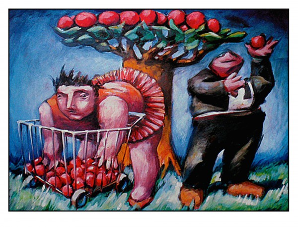 Adam et Eve, huile sur medium, Jean-Claude Fournié, Artcompulsion
