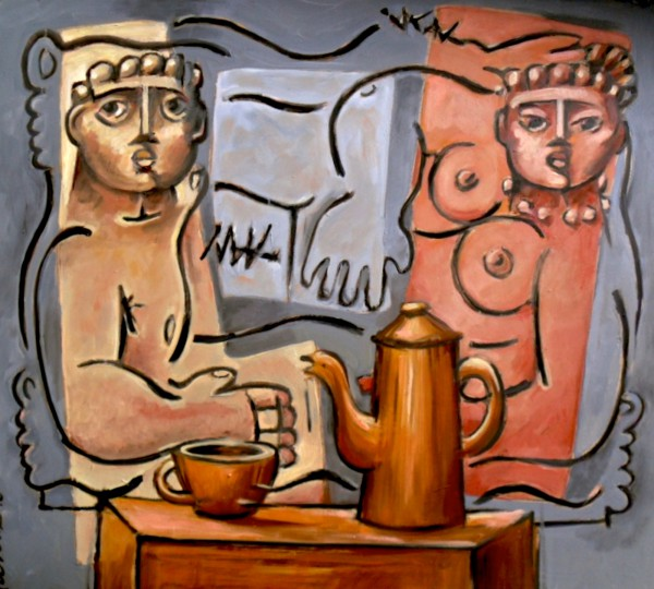 Couple avec cafetière, oil on MDF, Jean-Claude Fournié, Artcompulsion