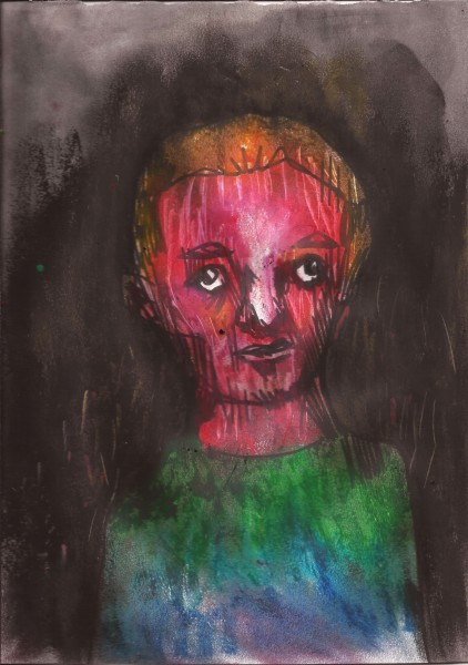 Sans titre 12, ink and pastel on paper, Eric Demelis, Outsider Art, Artcompulsion
