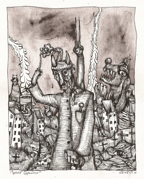 Sans titre 13, chinese ink on paper, Eric Demelis, Outsider Art, Artcompulsion