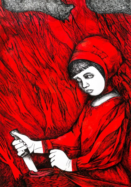 Chaperon rouge II, chinese ink and acrylic on paper, Tatiana Samoïlova, Outsider Art, Artcompulsion