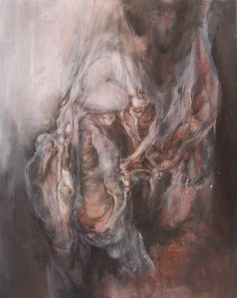 Flesh II, mixed media on canvas, Pascale Morel, expressionism, Artcompulsion
