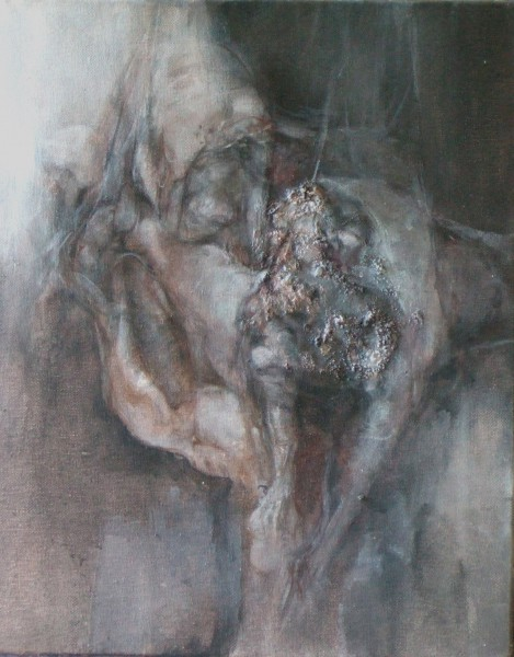 Flesh I, mixed media on canvas, Pascale Morel, expressionism, Artcompulsion