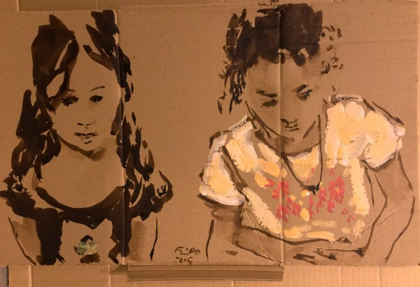 Children Sarah et Celia, drawing, acrylic on cardboard, Emmanuel Flipo, Artcompulsion, Contemporary art
