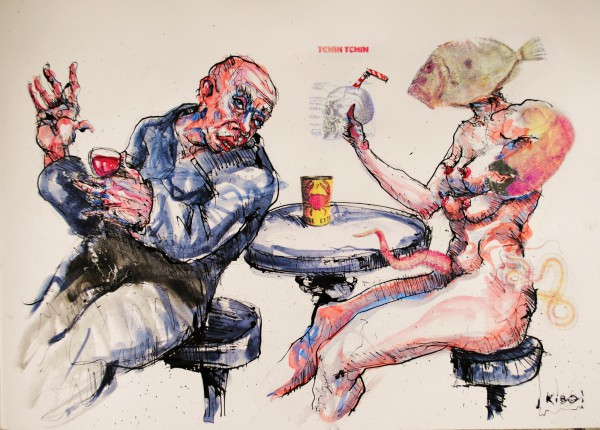 Delirium Tremens, mixed media on paper, Jean Kiboi, Outsider Art, Artcompulsion