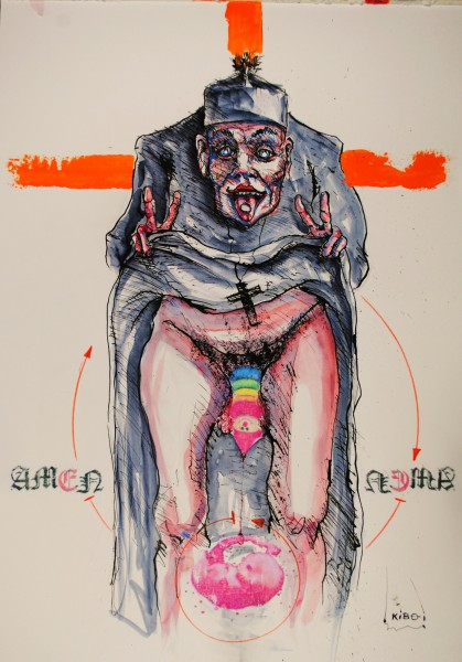Ecce Abbéus Corpus, mixed media on paper, Jean Kiboi, Outsider Art, Artcompulsion