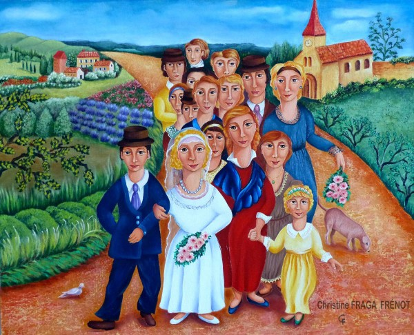 Le cortège, oil on canvas, Christine Fraga Frénot, Naive Art, Folk Art, Artcompulsion