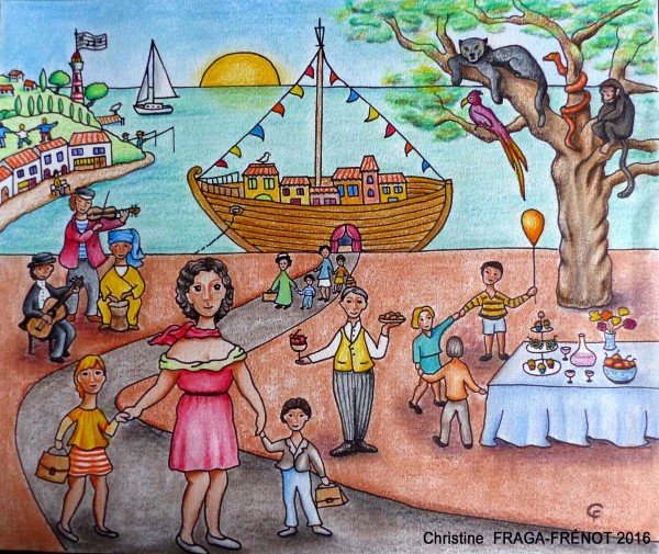 L'Arche, Colored pencils on watercolor paper, Christine Fraga Frénot, Naive Art, Folk Art, Artcompulsion