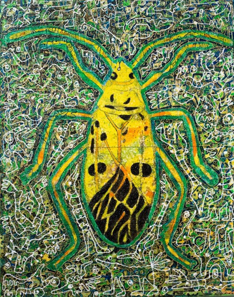 Planche d'entomologie, mixed media on canvas, Rodia Bayginot, Contemporary Art