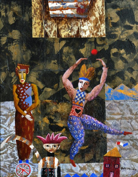 Jongleur, technique mixte sur bois, Jean Boccacino, Artcompulsion, Art contemporain