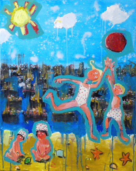 Athènes 2015, oil on canvas, Bruno Tessier, Outsider Art, Artcompulsion